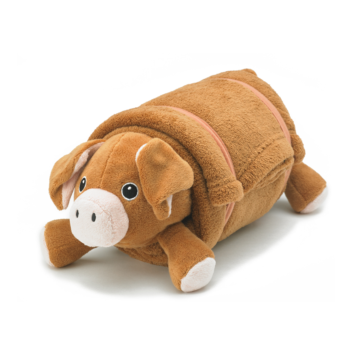 Brown Pig Pet Plush Pillow With Blanket Nap Mat Cover