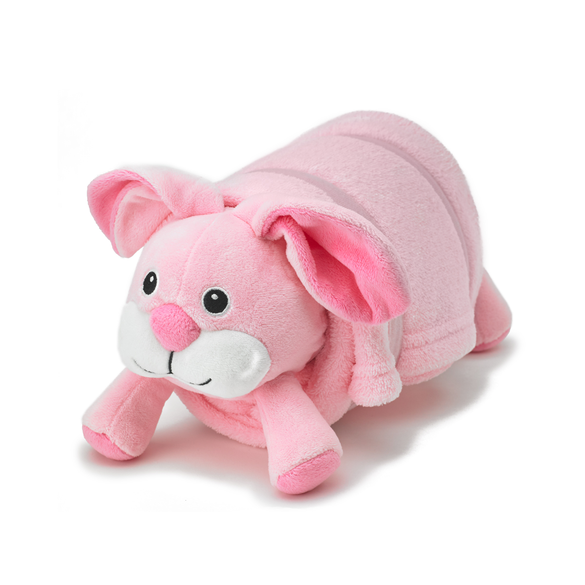 Animal Pillow Blanket : Pink Bunny Pet Plush Pillow with Blanket ? Nap Mat Cover Pillow + Blanket